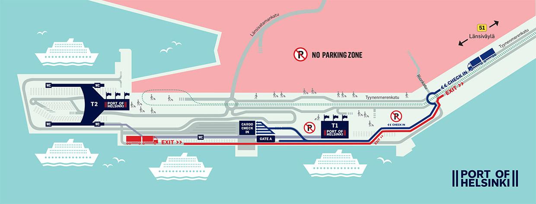 Liikluskorralduse muudatus Helsingi Lääneterminalis. Kogu raskeveokiliiklus suunatakse alates 13.1.20 Tyynenmerenkadule